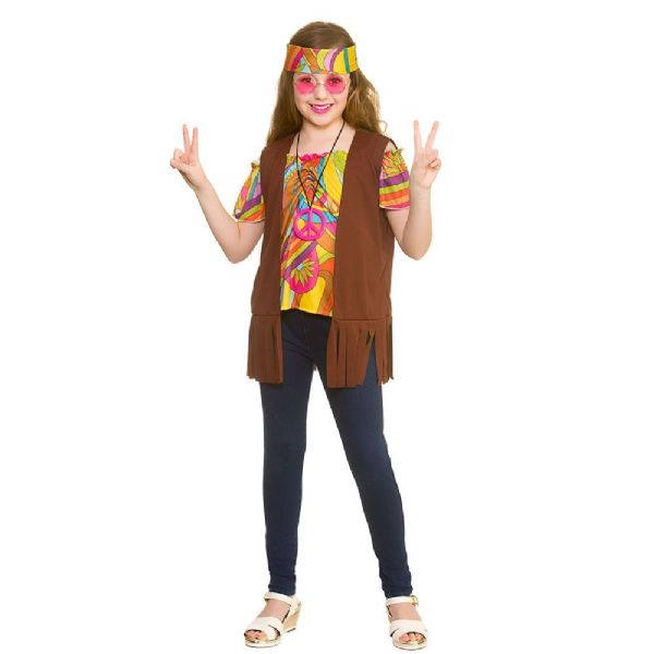 Girls Cool Hippie Set Costume for 60s 70s Hippie Mod Fancy Dress